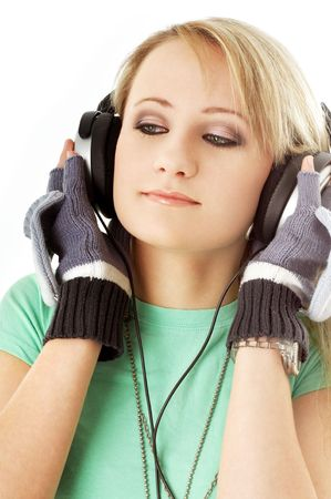 picture of teenage girl in headphones over white photo