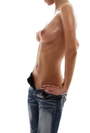 topless jeans: topless girl in blue jeans torso over white Stock Photo