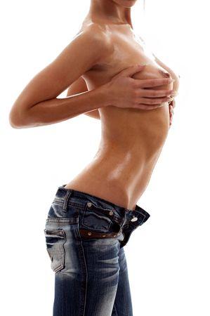topless girl in blue jeans torso over white Stock Photo - 1016015
