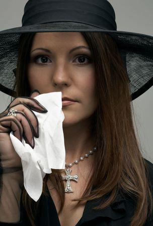 crying christian lady in black funeral dress Stock Photo - 1068230