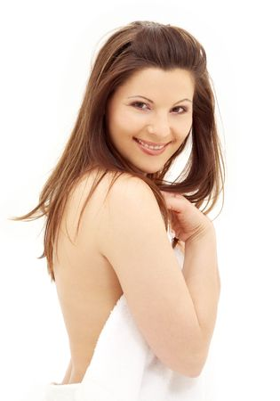 picture of lovely brunette with white towel Stock Photo - 1092841