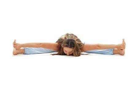 lovely girl practicing ashtanga yoga over white Stock Photo - 1105628