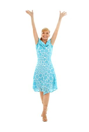 picture of happy girl in blue dress with hands up Stock Photo - 1214869
