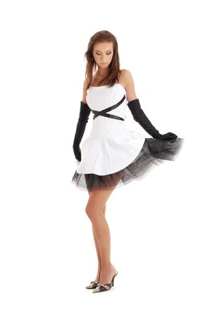 classical pin-up image of pretty lady in black and white dress