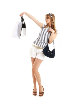 cheerful blond with shopping bags over white Stock Photo - 1269127