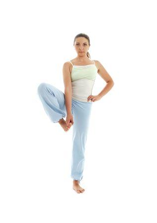 lovely girl practicing ashtanga yoga over white Stock Photo - 1334055