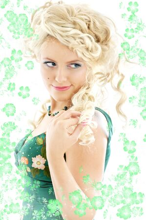 image of blond in green dress with flowers photo