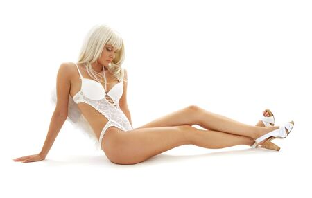 picture of lonely angel girl in white lingerie Stock Photo - 1533715
