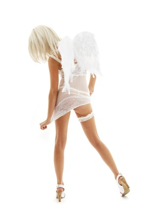 white lingerie angel girl on high heels Stock Photo - 1676572