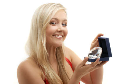 fancy sweet box: picture of lovely blond with big diamond Stock Photo