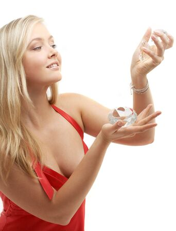 picture of lovely blond playing with big diamonds photo