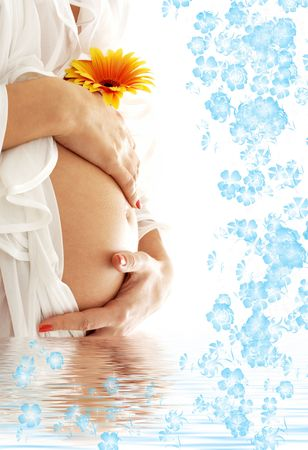 wife of bath: pregnant woman belly with flower in blue water Stock Photo