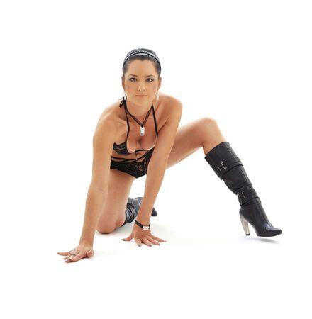 fit brunette in black lingerie over white Stock Photo - 1746645