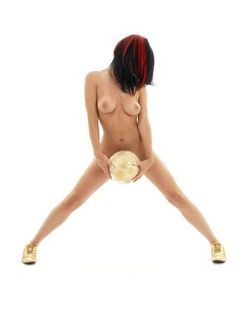 female nudity: classical artistic nudity picture of naked girl with golden ball