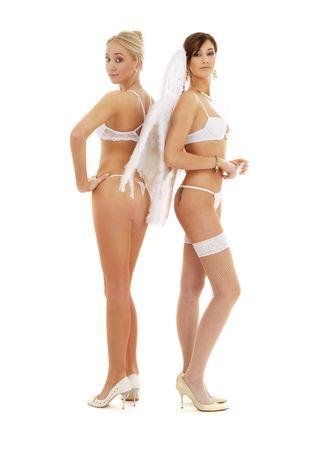 white lingerie angel girls on high heels Stock Photo - 1767487