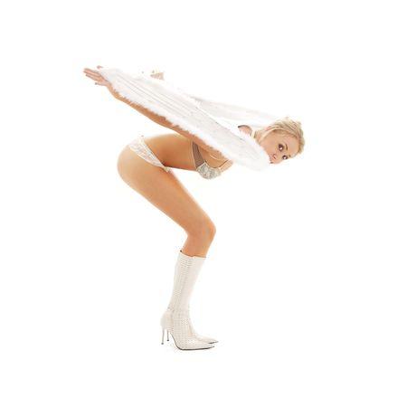bending lingerie angel girl isolated on white Stock Photo - 1788327