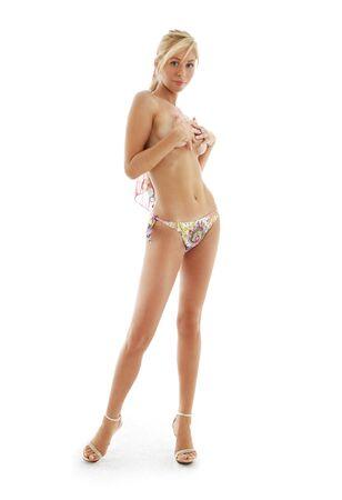 topless bikini girl on high heels over white background Stock Photo - 1861192