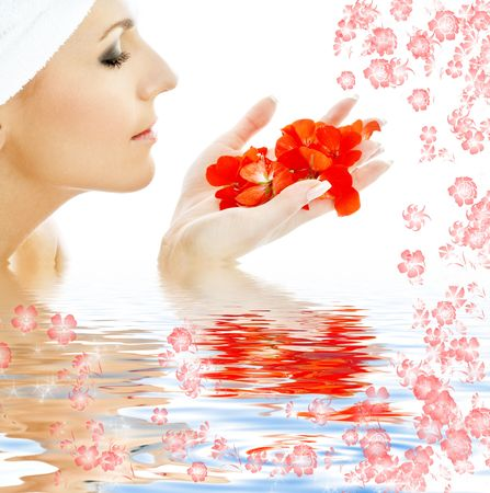 remedial: lovely woman with red flower petals in water