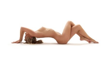 classical artistic nudity style picture of woman working out