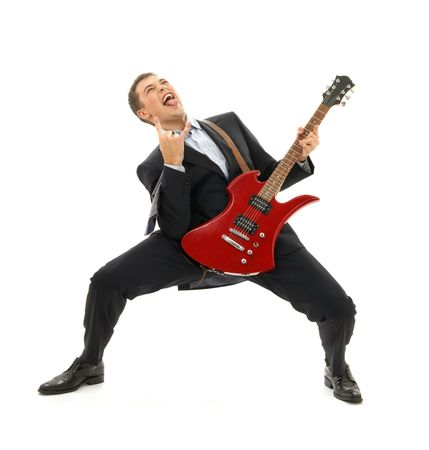 crazy businessman with red guitar over white photo