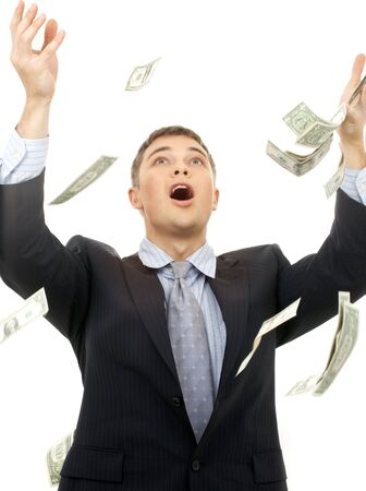 happy successfull businessman in money rain over white Stock Photo - 1922348