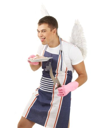 animal idiot: crazy cook with fish on plate and angel wings