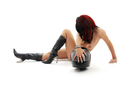 classical artistic  picture of  girl with black helmet
