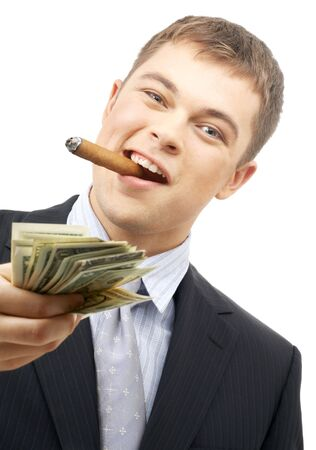 smoking gangster holding dollar bills over white photo