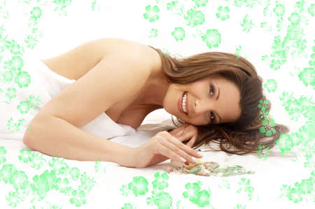 picture of lovely lady relaxing in massage salon with flowers Stock Photo - 2010918