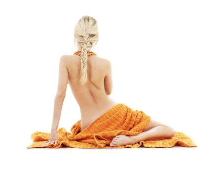 beautiful lady with orange towels over white Stock Photo - 2044880