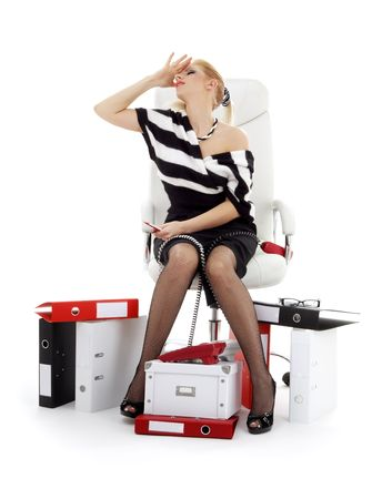 picture of stressed businesswoman in chair over white photo