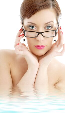 picture of black plastic eyeglasses lady in water photo