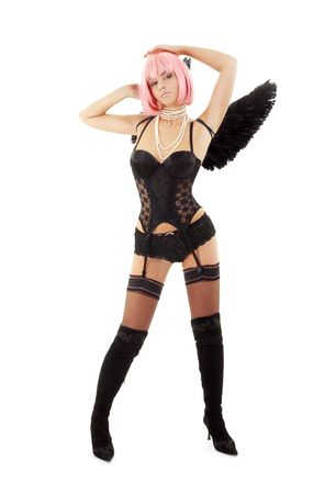 dancing black lingerie angel with pink hair over white Stock Photo - 2080167