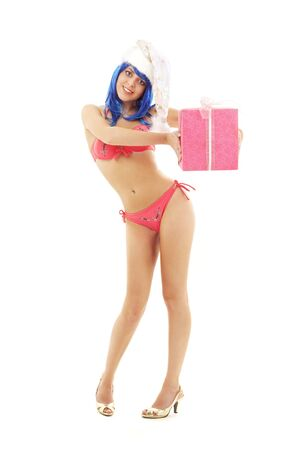 santa helper girl on high heels with blue hair and pink gift box Stock Photo - 2102663