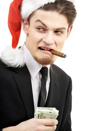 portrait of corporate suit man playing bad santa Stock Photo - 2129041