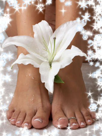 wet feet and madonna lily with snowflakes Stock Photo - 2197304