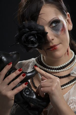 retro portrait of gothic lady with leather teddy-bear Stock Photo - 2206443