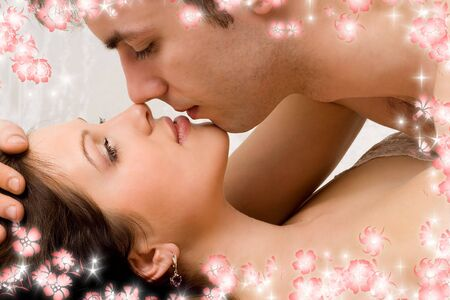 picture of couple in love with flowers Stock Photo