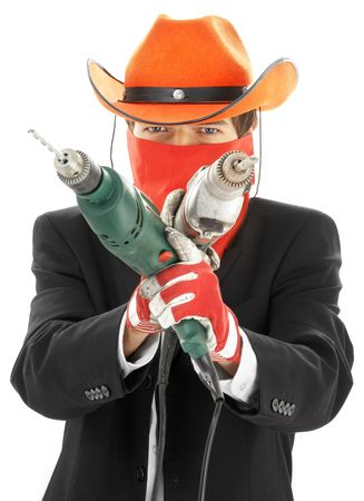 hanky: man in corporate suit and cowboy hat with electric drills