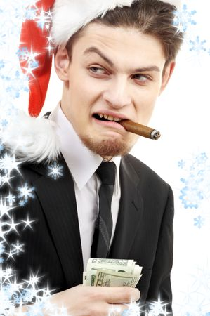 corporate suit man playing bad santa with snowflakes photo