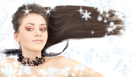portrait of lovely brunette in black collar with snowflakes Stock Photo - 2255565