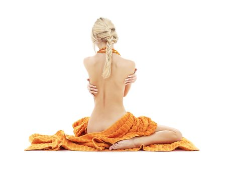 beautiful lady with orange towels over white photo