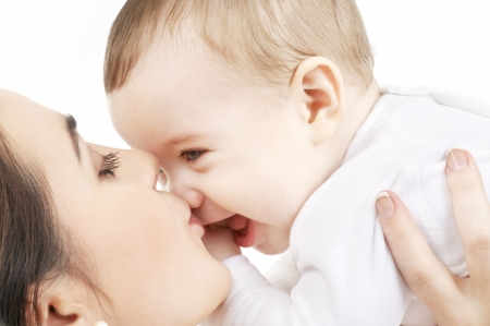 picture of happy mother with baby over white photo