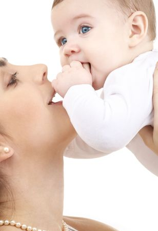 picture of happy mother with baby over white (focus on mother) Stock Photo - 2459254