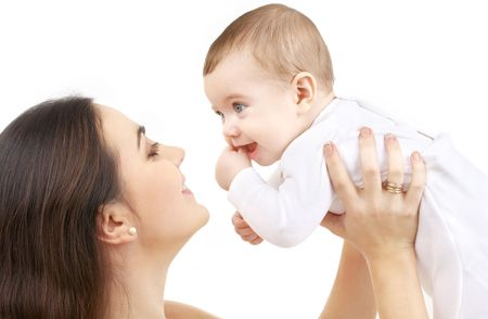 picture of happy mother with baby over white Stock Photo