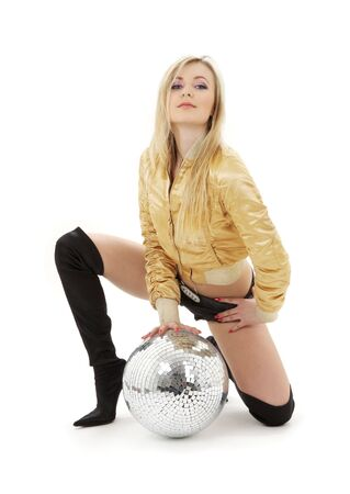 kneeled: party dancer girl in golden jacket with disco ball