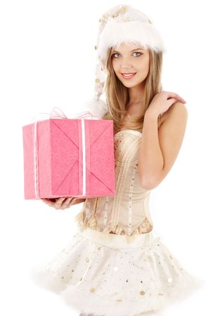 santa helper blond in corset and skirt with pink gift box Stock Photo - 2504225
