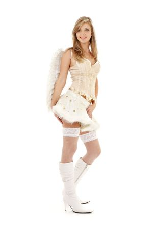 picture of lovely angel girl in furry skirt and corset  Stock Photo - 2504221