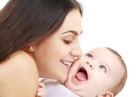baby playing: laughing baby playing with mother (focus on mama)