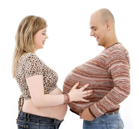 humorous picture of pregnant couple over white photo